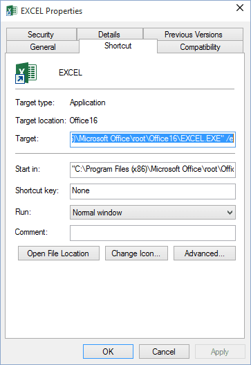Empty Option for Excel 2016