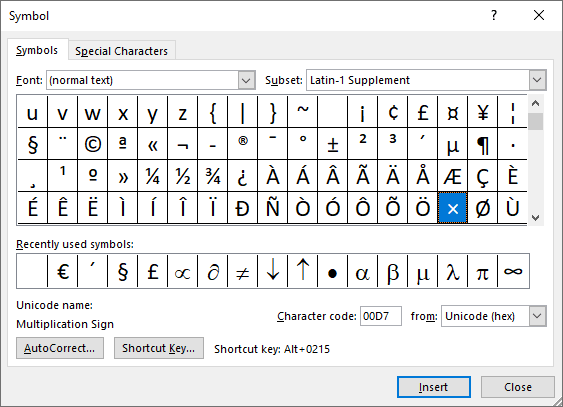 Multiplication symbol in Symbols Word 2016