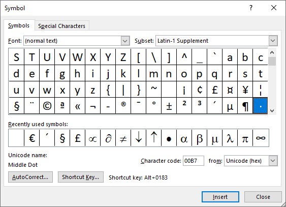 Dot symbol in Symbols Word 2016