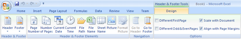 Header and Footer Tools in Excel 2007