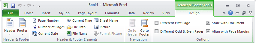 Header and Footer Tools Excel 2010