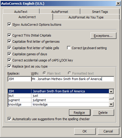 Replace AutoCorrect in Word 2007