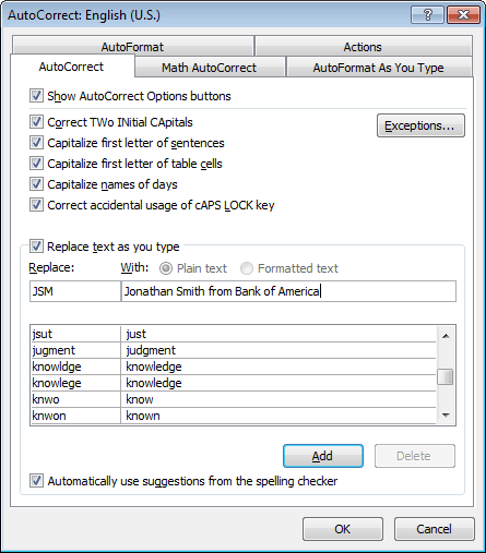 AutoCorrect in Word 2010