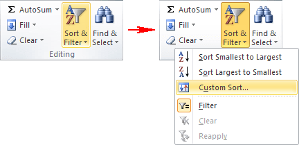 Custom Sort in Excel 2010 menu