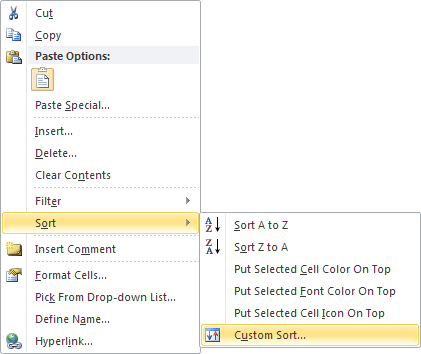 Custom Sort in Excel 2010 popup