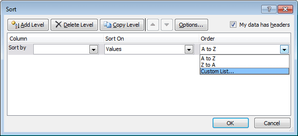 Sort dialog box in Excel 2010