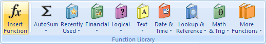 Function Library in Excel 2007