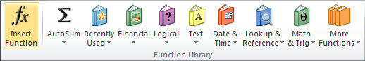 Function Library in Excel 2010