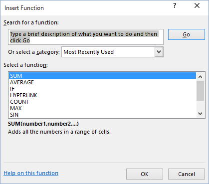 Function Library in Excel 2016