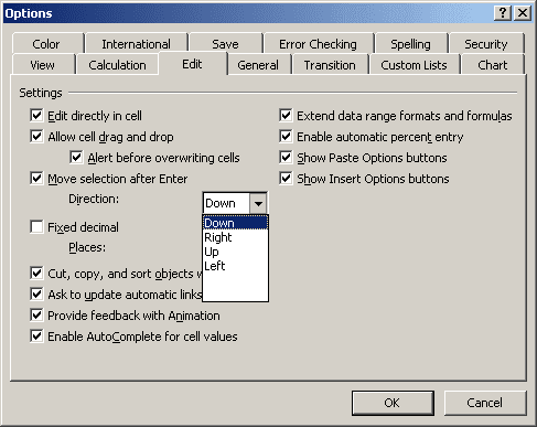 Options in Excel 2003