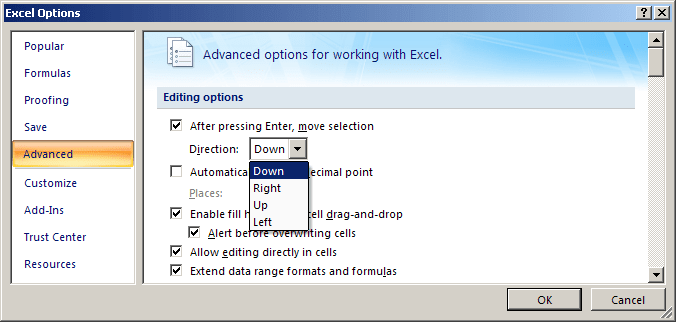 Advanced options in Excel 2007