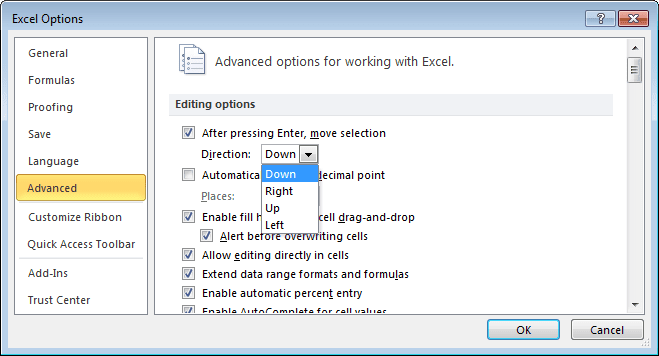 Advanced options in Excel 2010