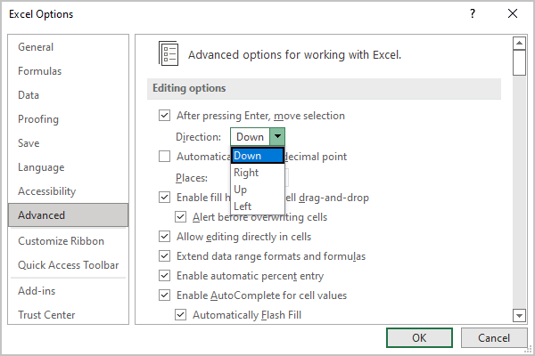 Advanced options in Excel 365