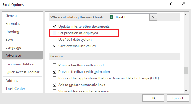 Advanced options in Excel 2016