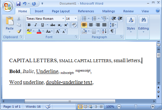 Shortcut Keys to control font format in Word 2007
