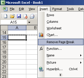 Remove page break in Excel 2003