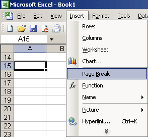 Page Break in Excel 2003