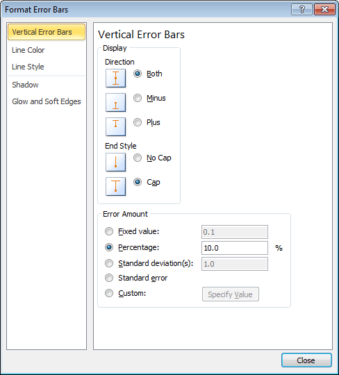 Format Error Bars in Excel 2010