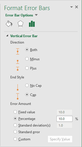 Format Error Bars Options in Excel 2016