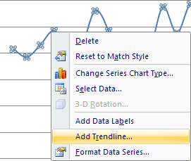 popup to add trend line Excel 2007