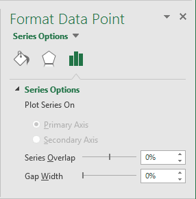 Gap width for chart in Excel 2016
