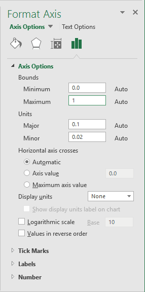 Format Axis in Excel 2016