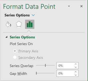 Gap width for chart in Excel 365