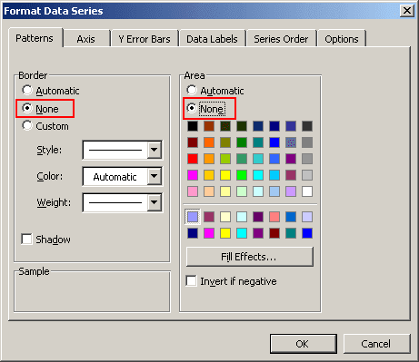 Patterns in Excel 2003