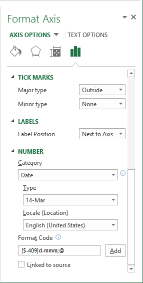 Format Axis in Excel 2013