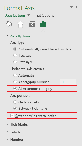 Format Vertical Axis in Excel 2016