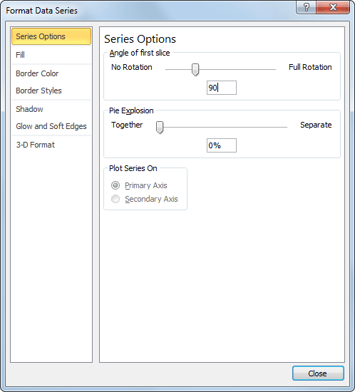 Series Options in Excel 2010