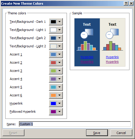 Create New Theme Colors in Excel 2007