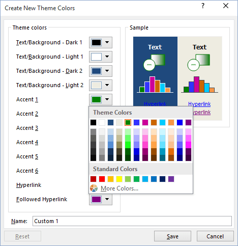 New Color in Excel 2016