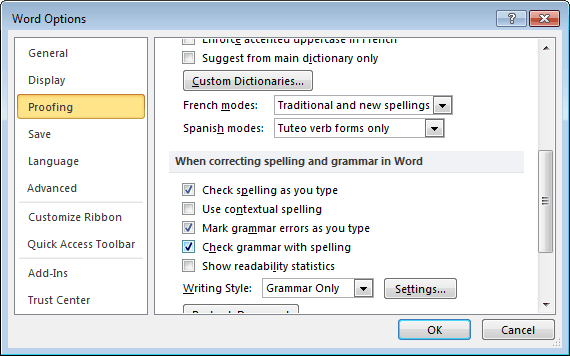 how to change grammar check for word 2010