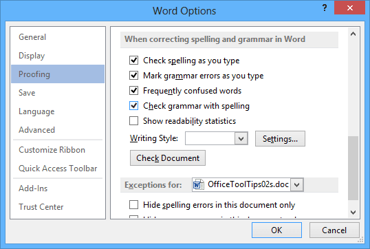 grammar options in Word 2013