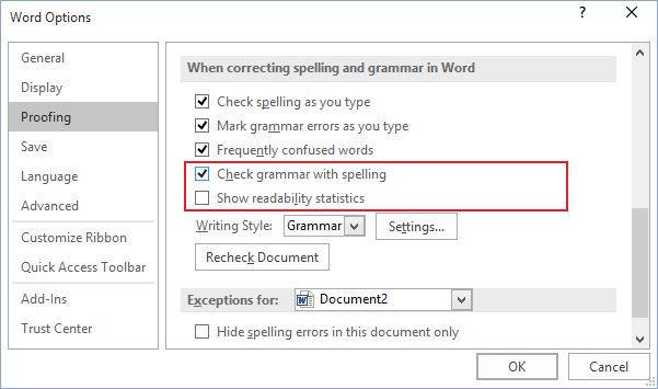 grammar options in Word 2016