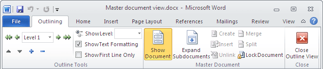 Outlining ribbon in Word 2010