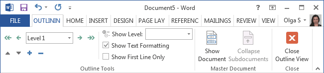 Outlining ribbon in Word 2013