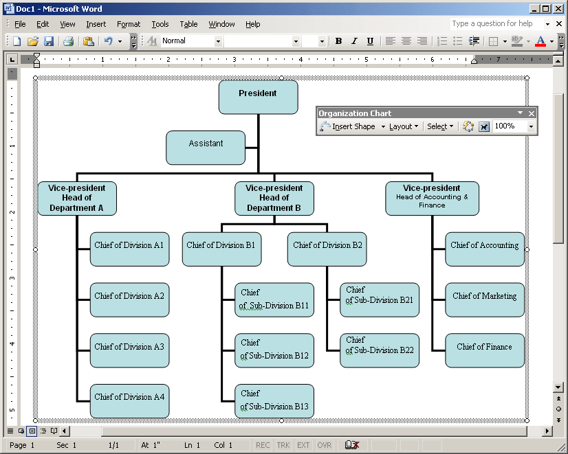 Organizational chart example in Word 2003
