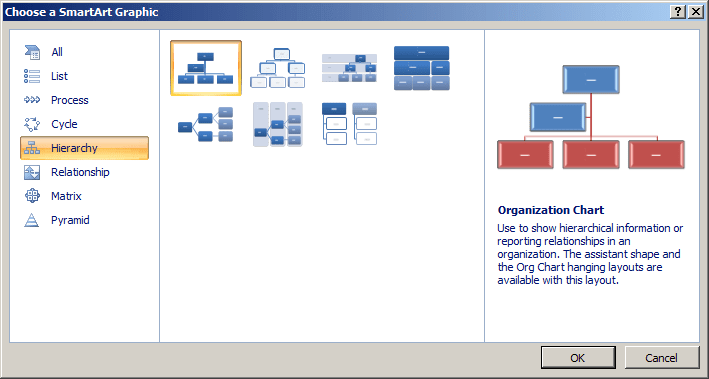 Choose a SmartArt Graphic in Word 2007