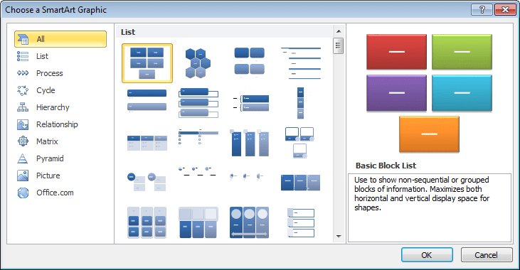 Choose a SmartArt Graphic in Word 2010