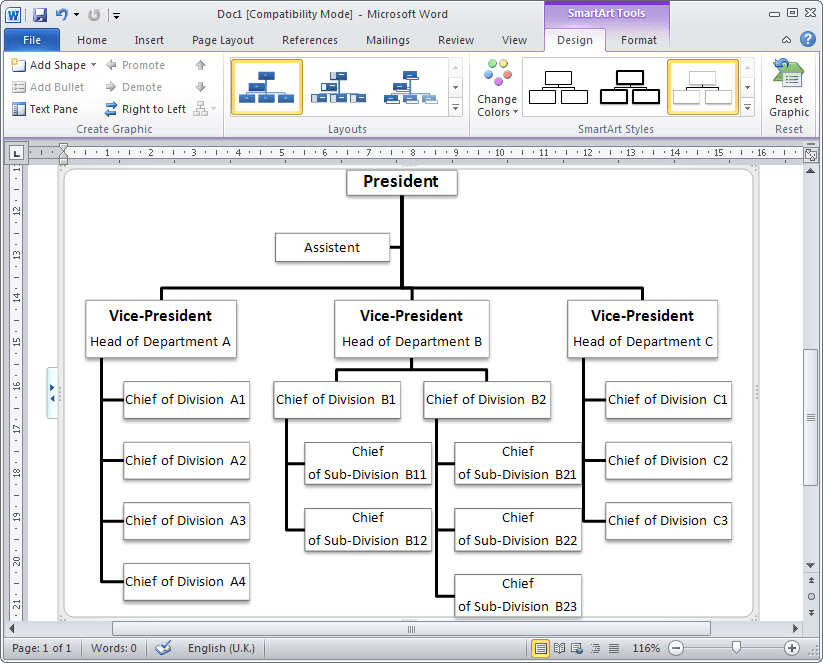 Organizational chart example in Word 2010