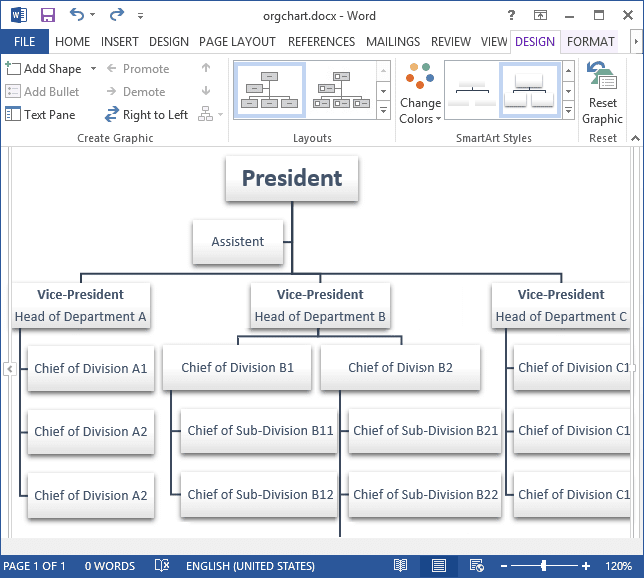 Organizational chart example in Word 2013