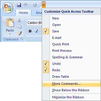 Quick Access in Word 2007
