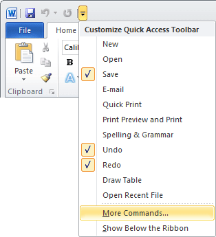 Quick Access Word 2010