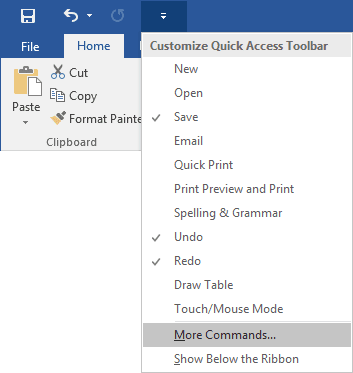 Quick Access Word 2016