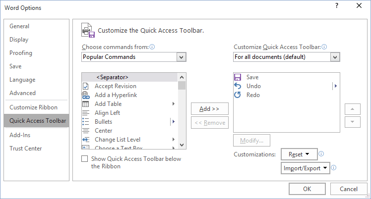 Word 2016 Options