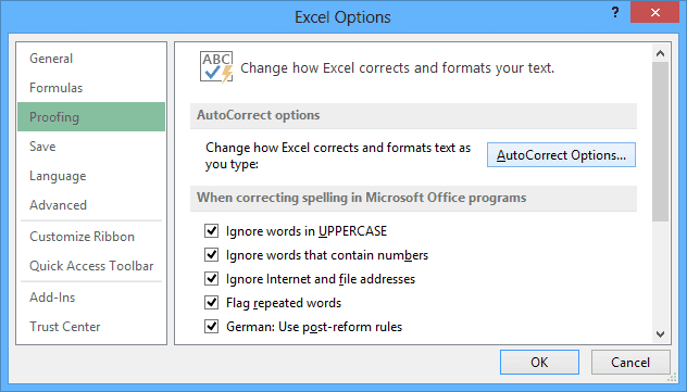 Proofing in Excel 2013