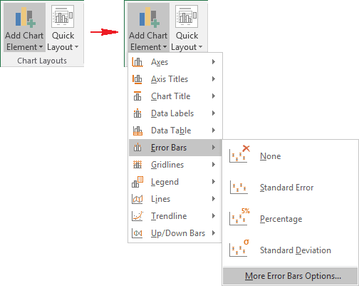 More Error Bars Options in Excel 2016