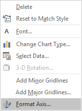 Format Axis in popup menu Excel 2016